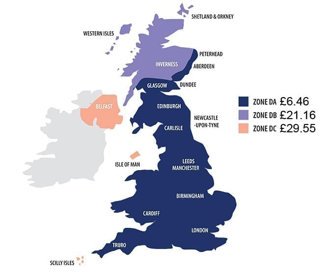 Map Of Uk Mainland.Delivery Automotive Paint Supplies Car Detailing Products